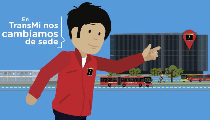 Personaje ilustrado  con la chaqueta roja de funciona indicado la ubicación de la nueva sede de TRANSMILENIO S.A.