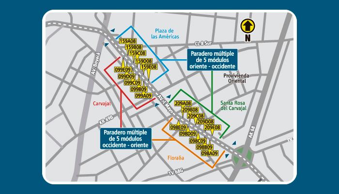 Mapa con la ubicación de los paraderos múltiples entre la avenida Boyacá y la avenida Carrera 68