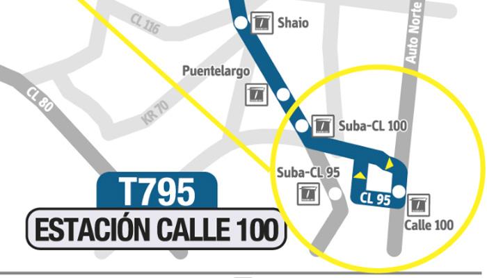 Parte del recorrido en el mapa donde se extiende la ruta urbana T795