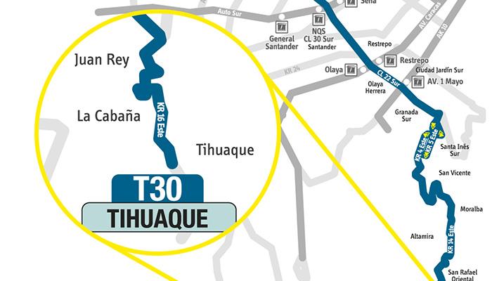 Recorrido con la extensión de la ruta urbana T30 patio bonito Tihuaque