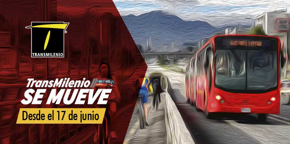 """Imagen con texto """" TransMi se Mueve , acompañado de una ilustración de un servicio Troncal subiendo un puente vehicular"""