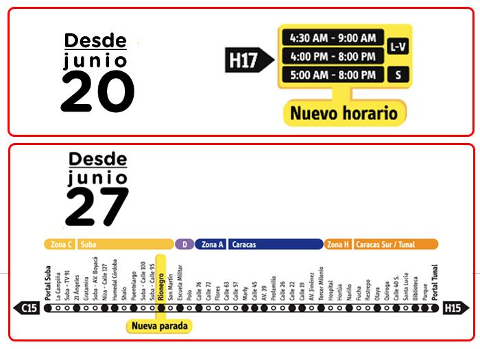 Imagen con texto indicando nuevos horarios del servicio Troncal  H17  y punto de paradao nuevo  de la ruta C15 H15