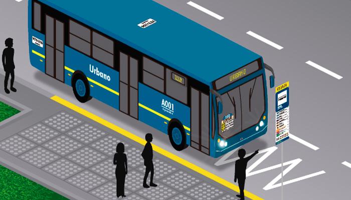 Bus ilustrado del SITP en un paradero de la ciudad con las personas esperando