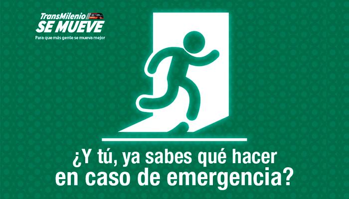 Imagen con la señal de salida de evacuación en caso de emergencia