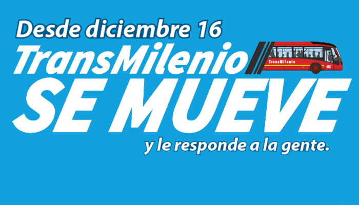 Cambios operativos desde el 16 en el Sistema TransMilenio