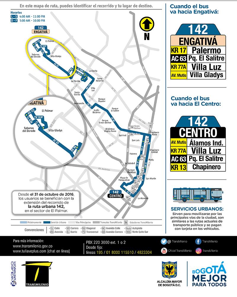 Ruta urbana 142 Engativá Centro amplia su recorrido El Palmar