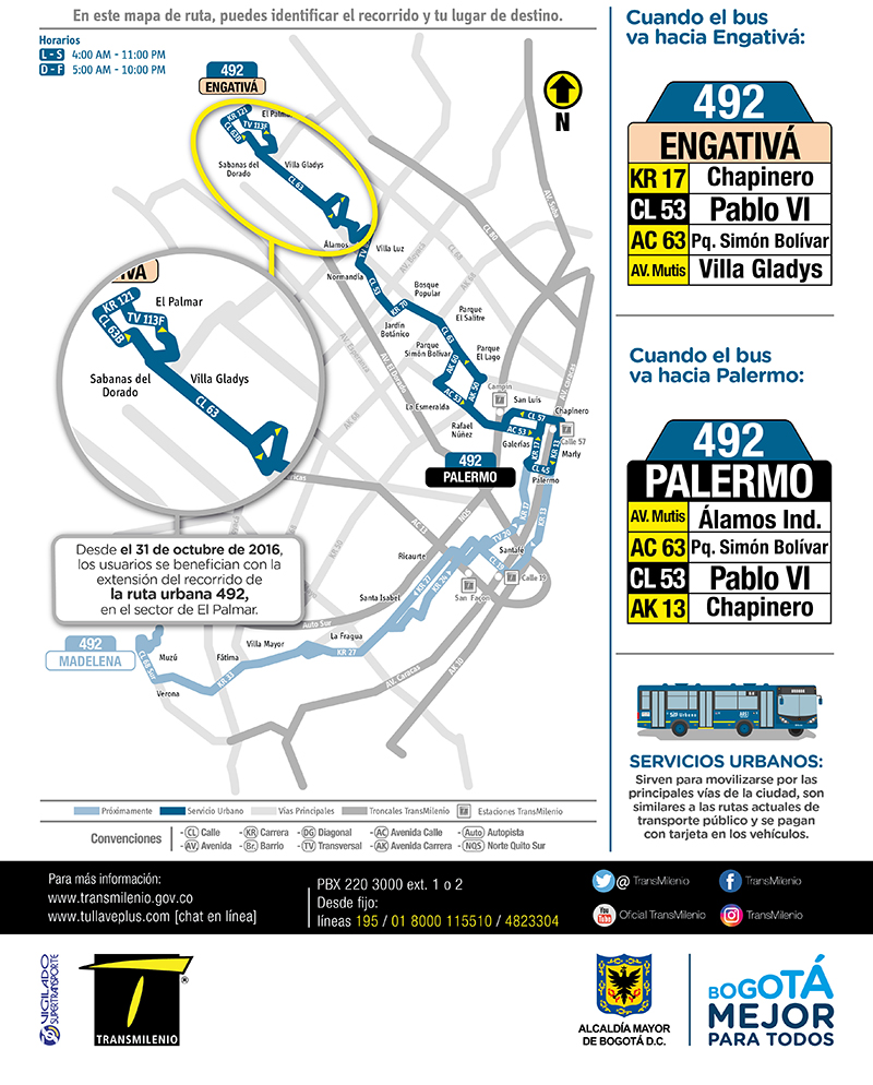 Ruta urbana 492 Engativá Centro amplia su recorrido El Palmar