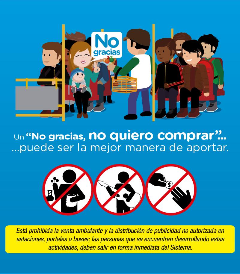 """Hábitos para mejorar seguridad y convivencia en TransMi  Un """" No gracias"""" para los vendedores ambulantes"""