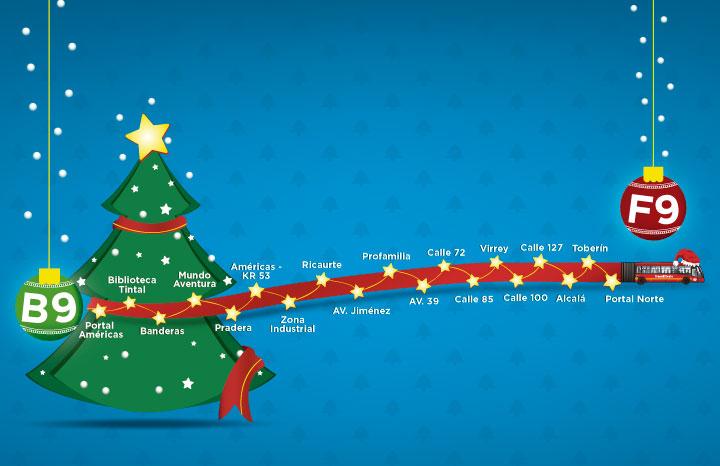 ruta navideña desde el Portal de la Américas hasta el Portal del Norte desde el 15 de diciembre