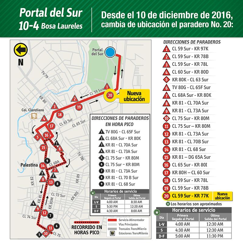 Ruta alimentadora 10-4 Portal del Sur- Bosa Laureles cambiará de ubicación su paradero número 20