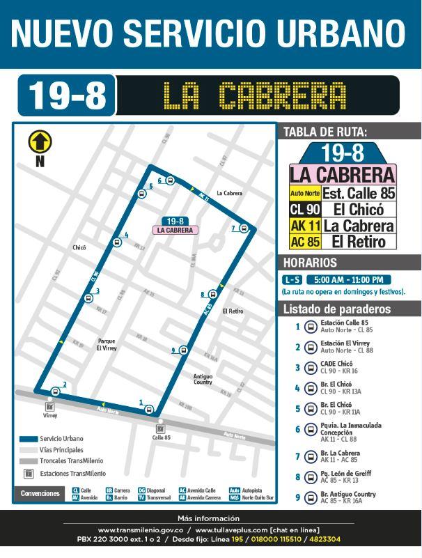 La ruta  urbana 19-8 la cabrera nuevo servicio  de la zona de chapinero contará con  9  paradas