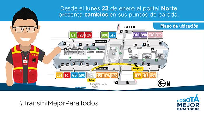 Imagen donde se explica la nueva parada del  servicio H27 en las plataforma 2 en el portal norte