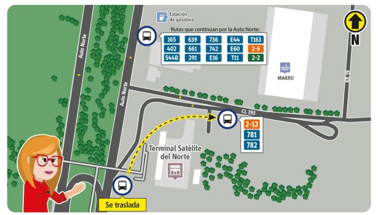 Ubicación delparadero Estación Terminal ubicado sobre la autopista  que traslada a la CL 193  (frente al parqueadero de la terminal), con las rutas : 2-12, 781 y 782