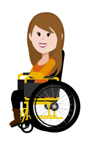 Personaje mujer ilustrado en silla de ruedas
