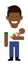 Personaje ilustrado con un bebe cargado y con la tarjeta sisben