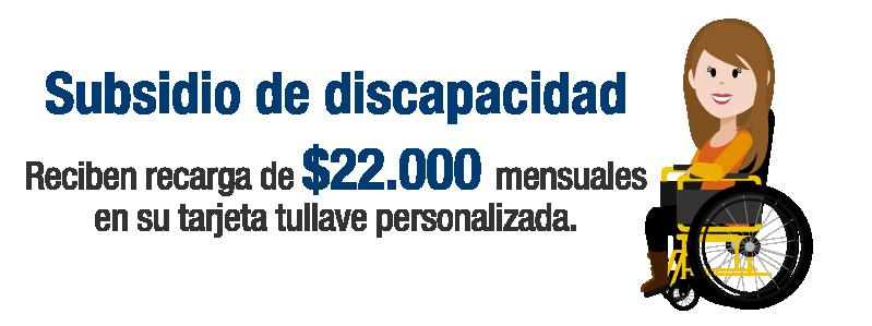 Subsidio de discapacidad  Reciben recarga de 22.000 mensuales en su tarjeta tullave personalizada