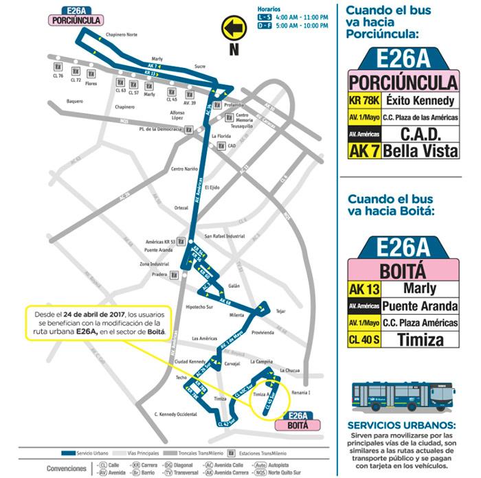 Recorrido de la ruta urbana E26A Porciúncula Boitá que extiende su recorrido en el sector de Boitá