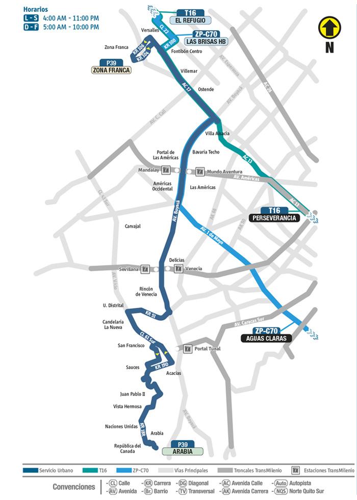 Mapa de la novedad del recorrido de la ruta urbana P39 que  empieza a partir del 2 de mayo