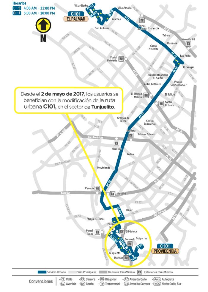 Mapa del ajuste operativo de la ruta urbana C101
