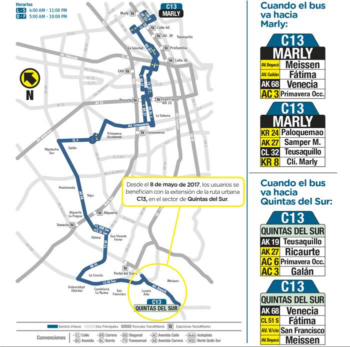 Mapa donde se muestra la extensión ruta urbana C13