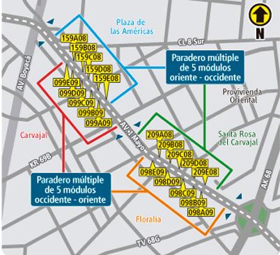 Mapa donde se reubican  paraderos  multiples en la 1 de mayo