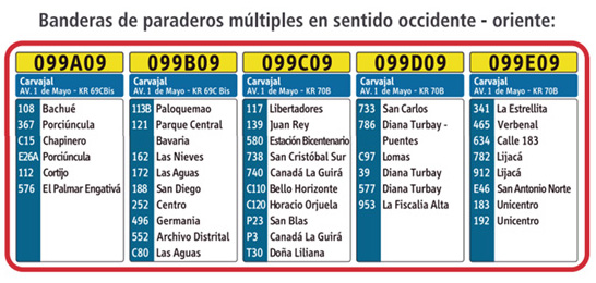 Paraderos múltiples sentido occidente oriente