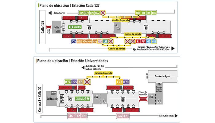 Plano de estación de Calle 127 y Universidades reorganización de paradas de algunos servicios