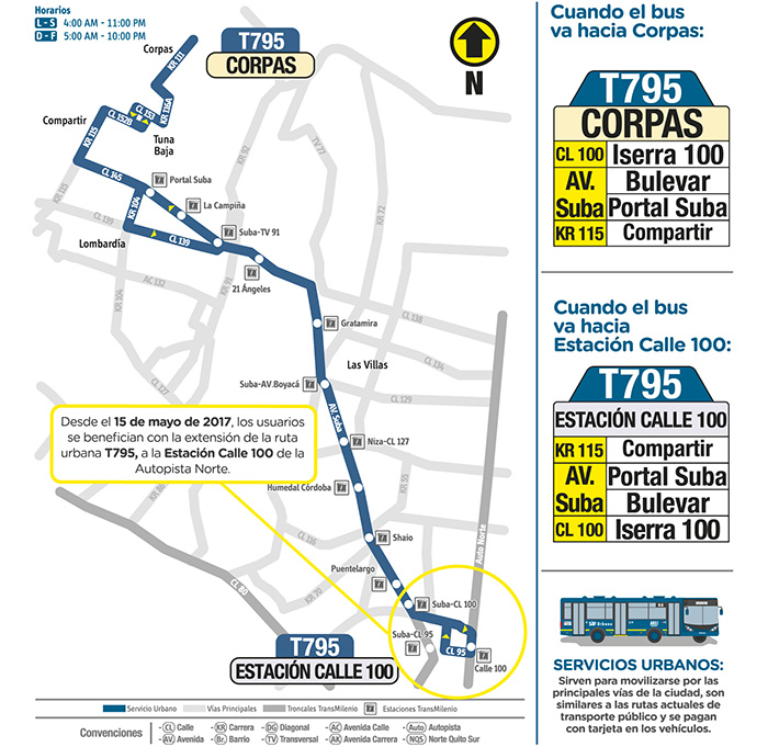Mapa del recorrido de la ruta T795