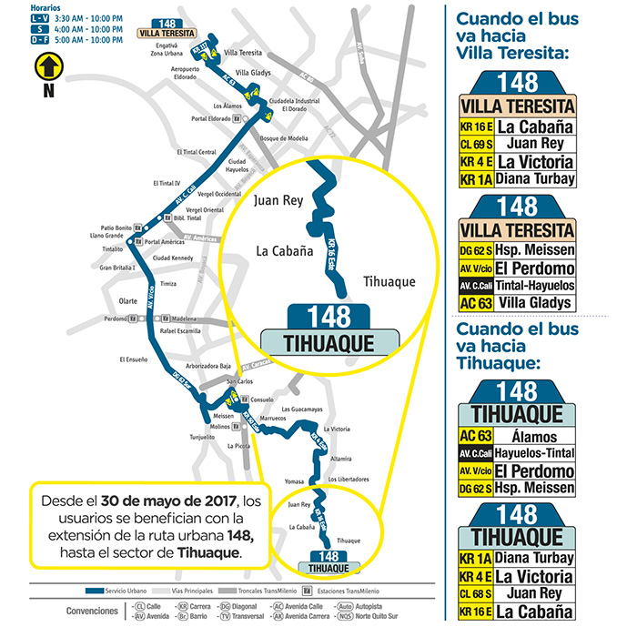 Recorrido ruta urbana 148 Villa Teresita Tihuaque