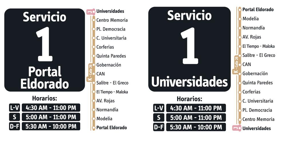 Horarios del servicio fácil 1