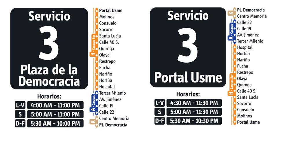 Horarios del Servicio fácil 3