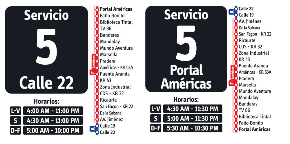 Horarios del Servicio fácil 5