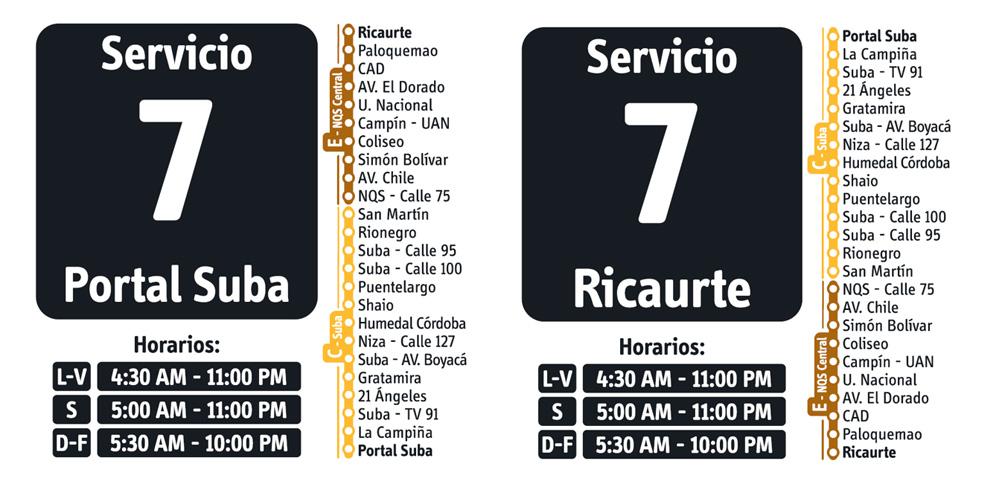 Horarios del servicio fácil 7