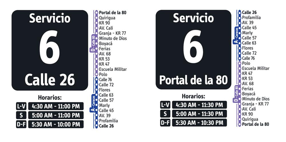 Horarios del servicio fácil 6