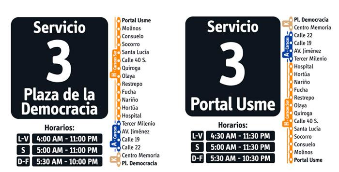 Recorrido servicio ruta fácil 3