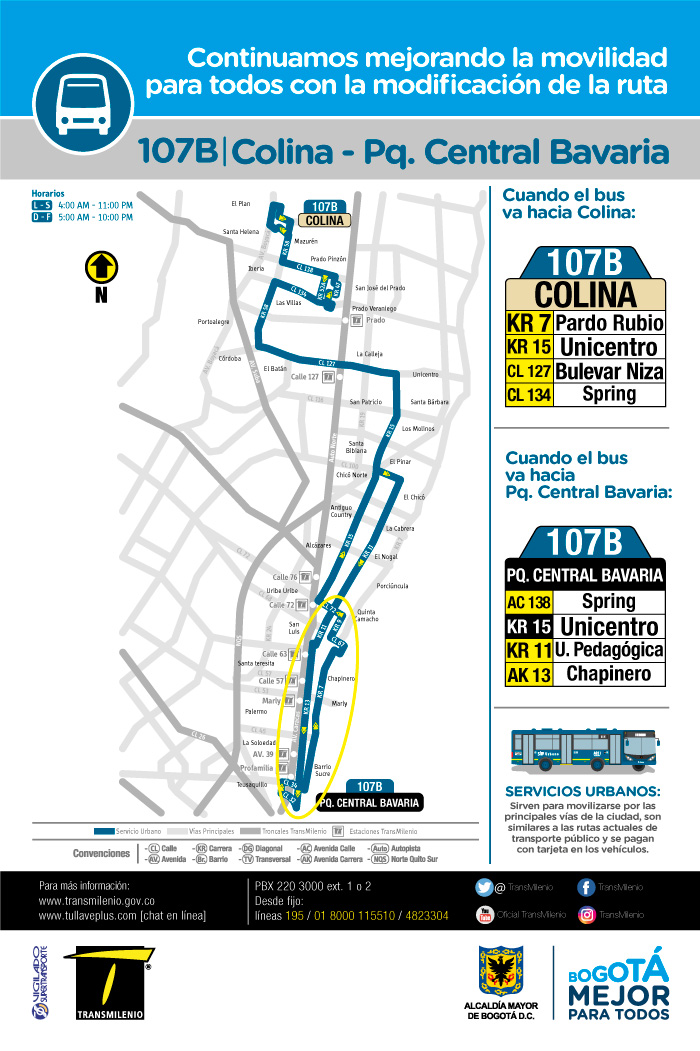 Mapa  del a ruta 107