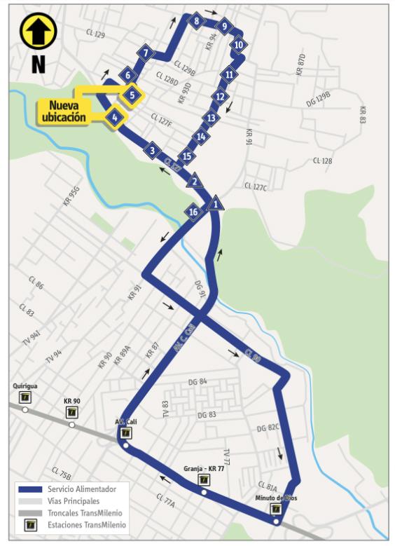 Mapa de la ruta alimentadora 5-1  con la nueva ubicación de 2 paraderos