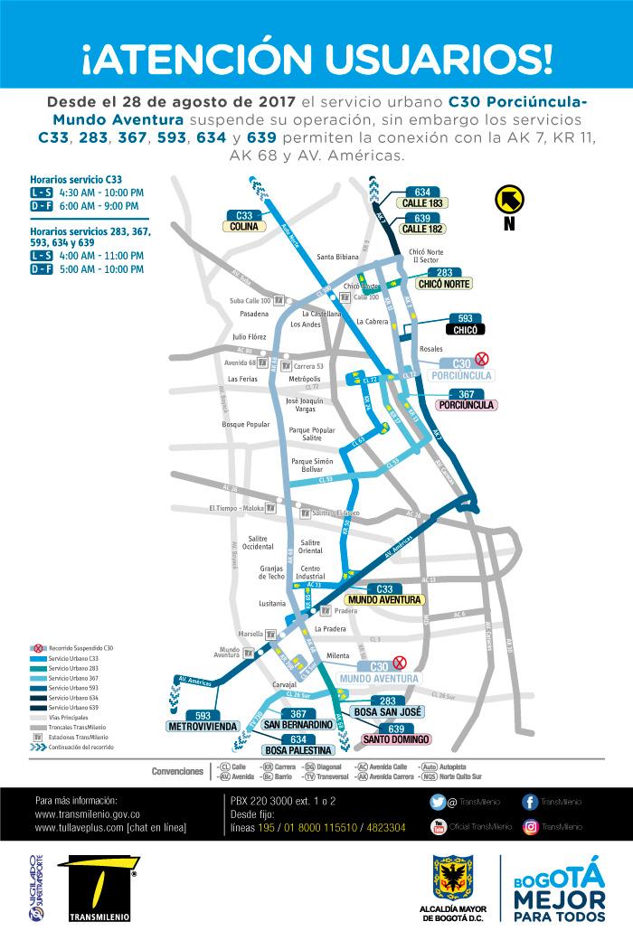 Mapa con las alternativa de movilidad por la suspensión ruta C30
