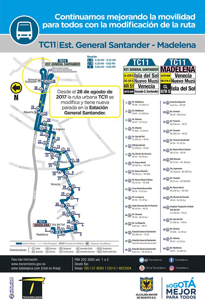 Mapa del servicio urbano TC11 con sus ajustes en sus paraderos