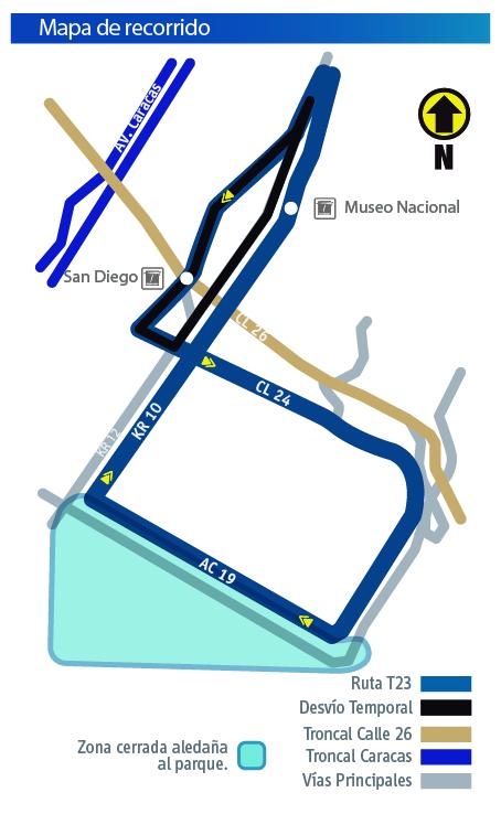 Mapa recorrido de desvio de la ruta T23