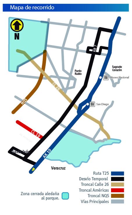 Mapa con el desvío del a ruta T25