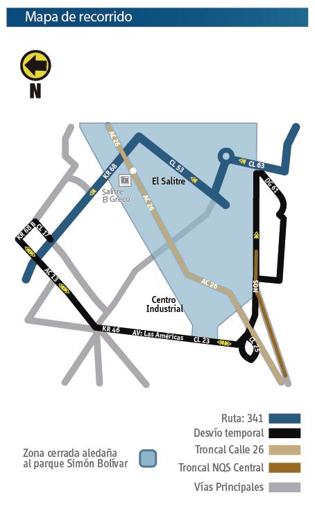 Mapa del recorrido  con sus desvíos de la Ruta 341