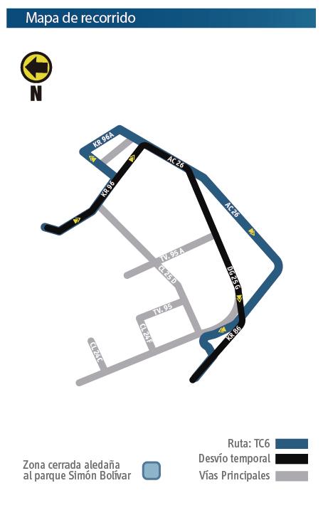 Mapa del recorrido de la Ruta TC6  y sus desvios