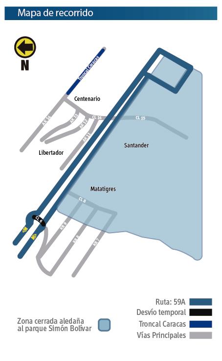 Mapa del recorrido de la ruta zonal 59A