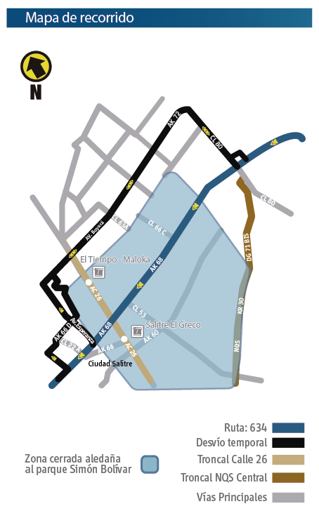 Mapa del recorrido de la ruta zonal 634