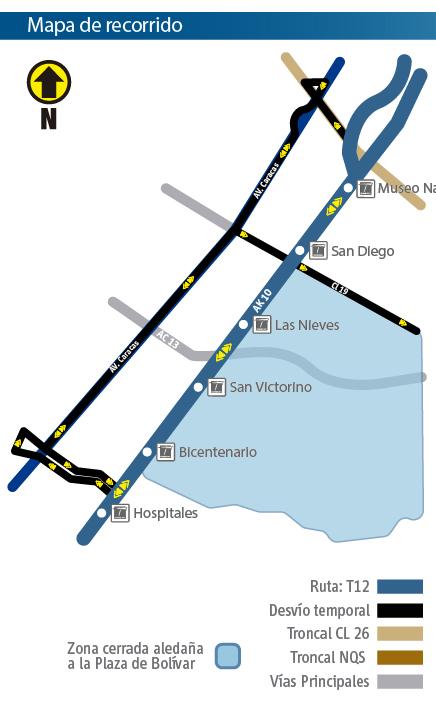 Mapa del recorrido de la ruta zonal T12