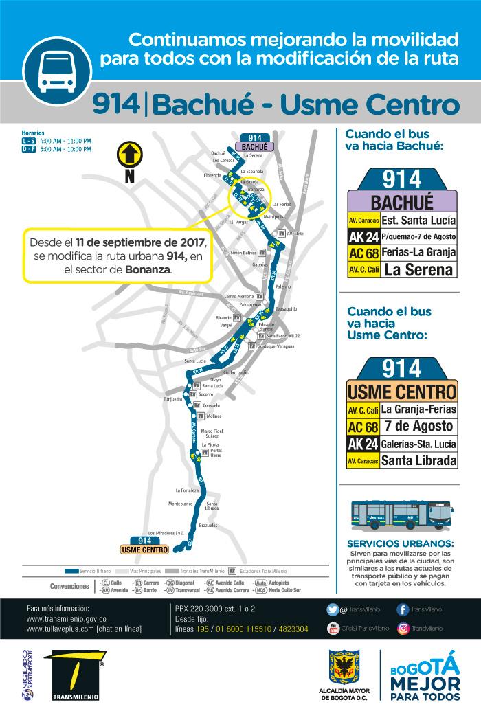 Mapa con el ajustes de la ruta 914