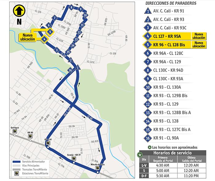 Mapa con el ajuste temporal del recorrido de la ruta alimentadora 5-1