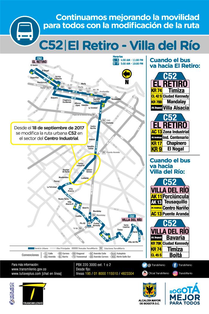 Mapa de la ruta C52 con nuevo ajuste operacional