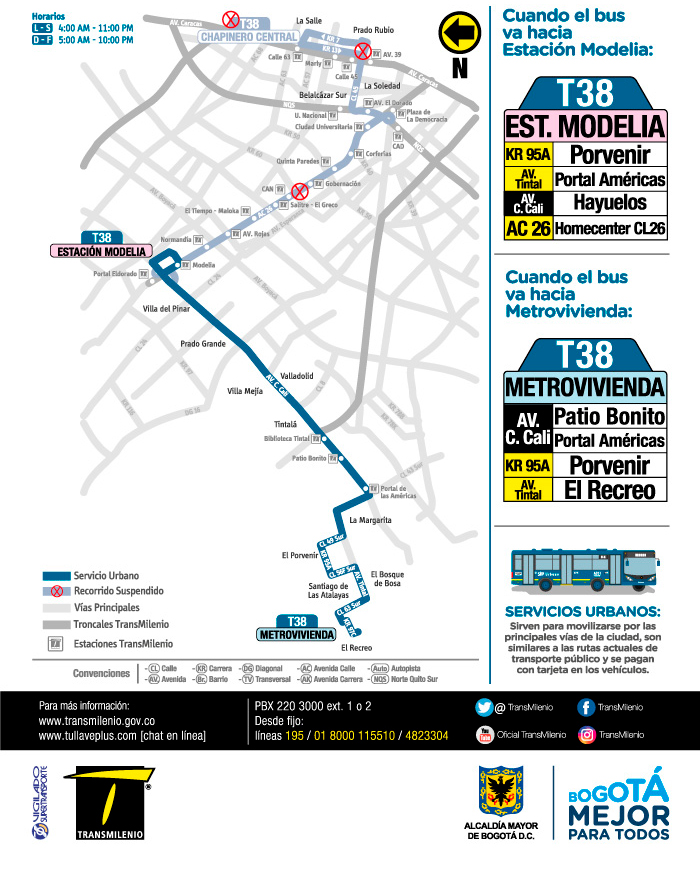 Mapa del nuevo trayecto de la ruta T38